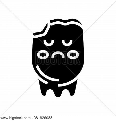 Tooth Caries Glyph Icon Vector. Tooth Caries Sign. Isolated Contour Symbol Black Illustration