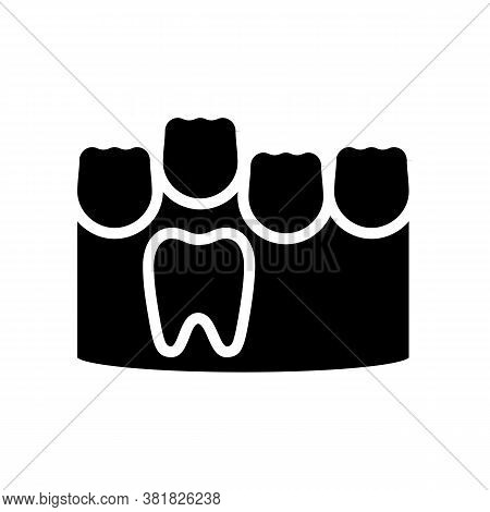 Baby And Molar Teeth Glyph Icon Vector. Baby And Molar Teeth Sign. Isolated Contour Symbol Black Ill