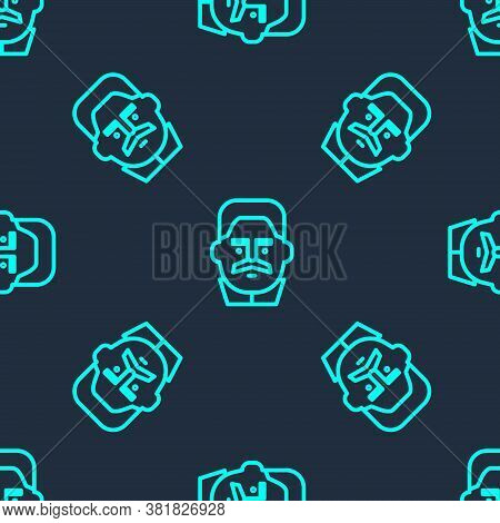 Green Line Portrait Of Joseph Stalin Icon Isolated Seamless Pattern On Blue Background. Vector