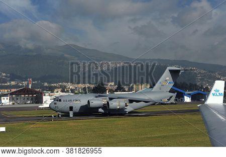 Quito, Ecuador, June 26, 2018: KLM planes and A U.S. Air Force C-17 Globemaster Territory of Quito Airport in Ecuador.