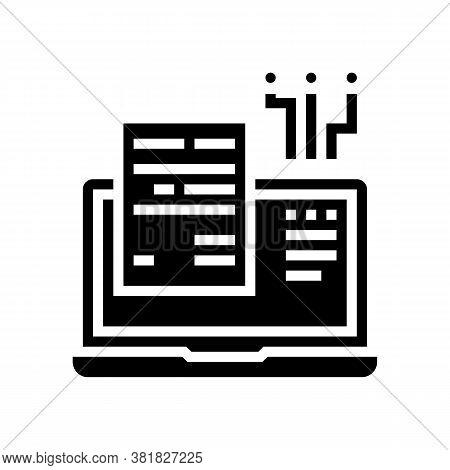 Internet Finance Report Glyph Icon Vector. Internet Finance Report Sign. Isolated Contour Symbol Bla