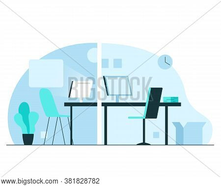 Online Webcam Video Education Or Consultation. Vector Concept Illustration Of Two Modern Rooms Inter