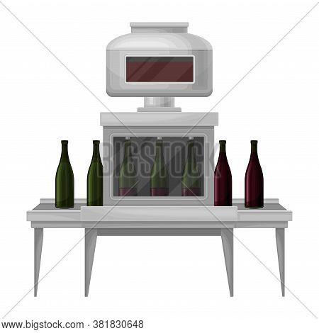 Wine Bottling Process With Glass Bottles Moving On Conveyor Belt Vector Illustration
