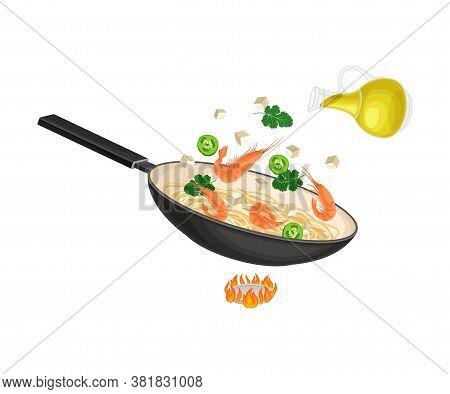 Chinese Udon Noodle Stir-frying In Wok Pan On Burner Vector Illustration