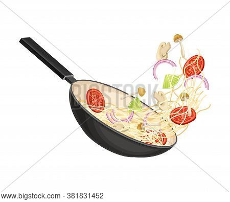 Chinese Udon Noodle Preparation With Stir-frying In Wok Pan Vector Illustration