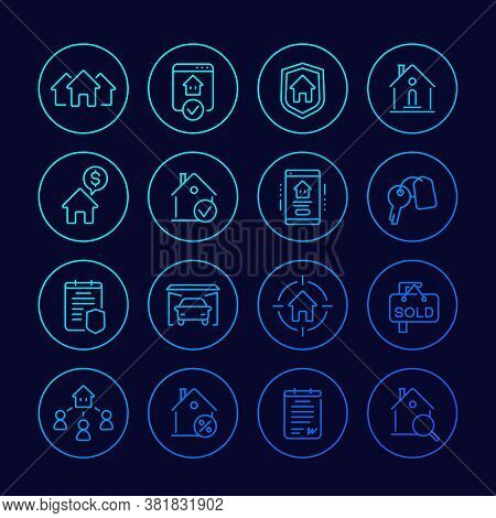 Real Estate Line Icons, Houses For Rent, Sale, Mortgage And Insurance