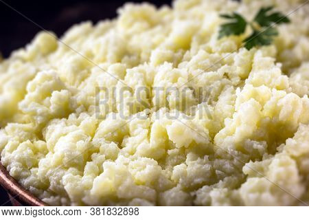 Cream Or Mashed Potatoes, Close-up, Organic And Homemade Food Without Preservatives Made In Brazil.