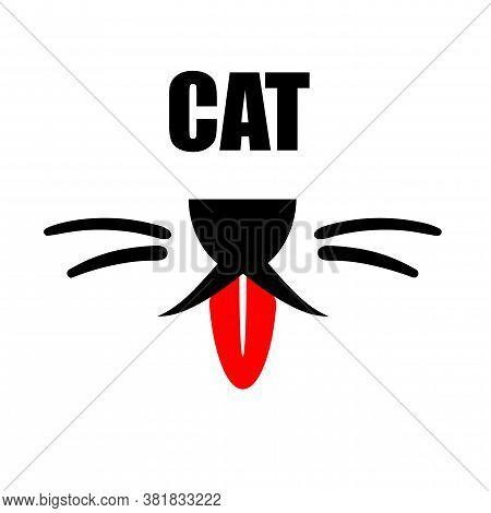 Cat With Red Tongue Logo. Cute Happy Pet With Smile Face Line Design And Copy Space Text. Kitty Flat