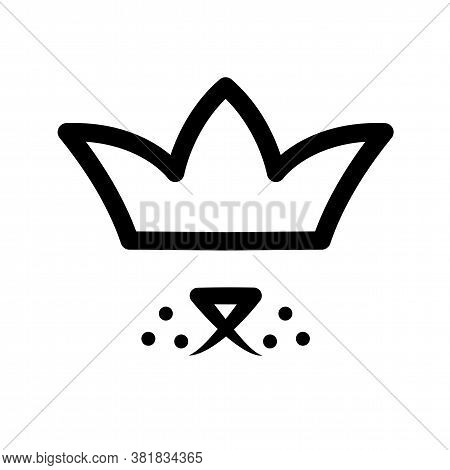 Pet In Crown Logo. Royal Dog Black Sign On White Background. Cute Puppy Happy In Luxury Style. Line