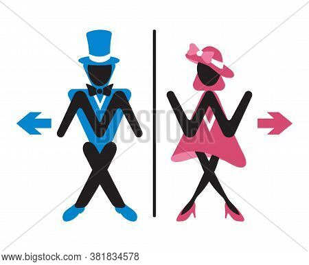 Toilet Wc Sign. Funny Elegant Lady And Gentleman For Bathroom Door. Сouple Hurry To Lavatory. Сolore