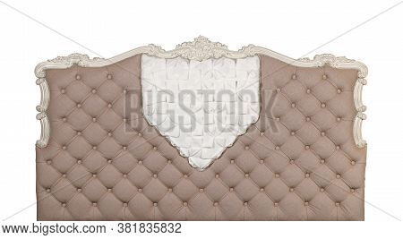 Beige Colored Soft Tufted Fabric Capitone Bed Headboard Of Chesterfield Style Sofa With Carved Woode