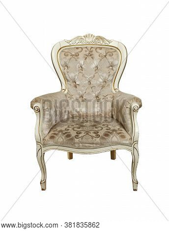Beige Tufted Retro Chesterfield Style Armchair Isolated Over White Background, Low Angle, Front View