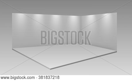 Blank Display Exhibition Stand. 3d Exhibition Booth. White Empty Promotional Stand With Desk. Trade