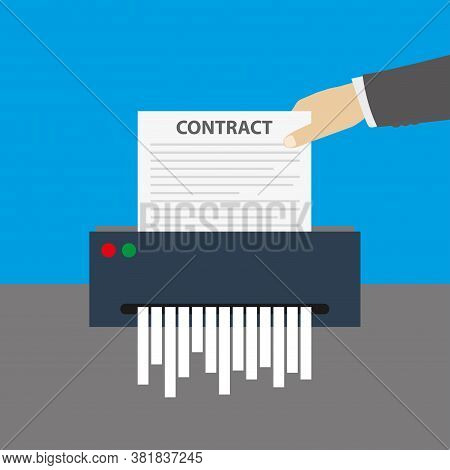 Hand Inserts The Contract Document Into The Paper Shredder,