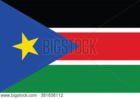 National South Sudan Flag, Official Colors And Proportion Correctly. National South Sudan Flag.