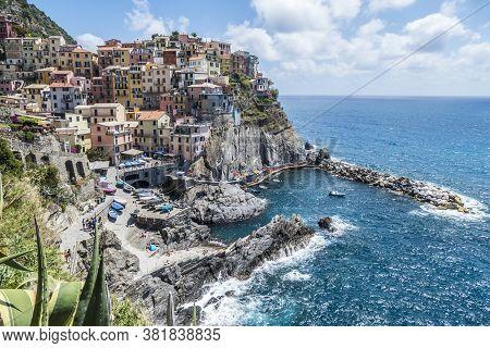 Manarola, Italy - 06/26/2020: Aerial View Manarola, Beautiful Town In The Cinque Terre