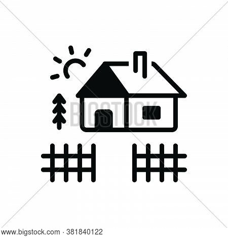Black Solid Icon For Yard Home Cabin Cottage Shack Hovel Arbour Wood Homestead Barton Belongings Ear
