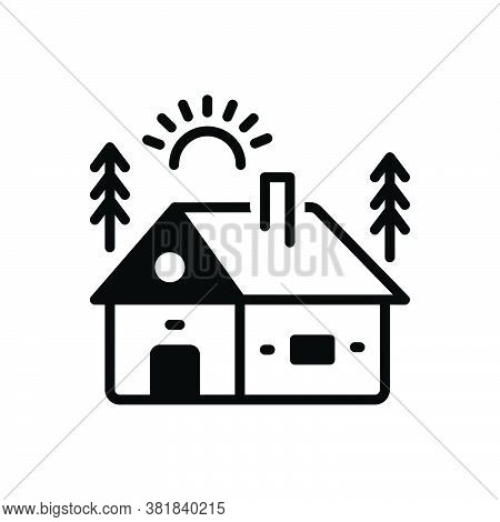 Black Solid Icon For Cabin Cottage Shack Hovel Arbour Wood Mountain Hut Hill