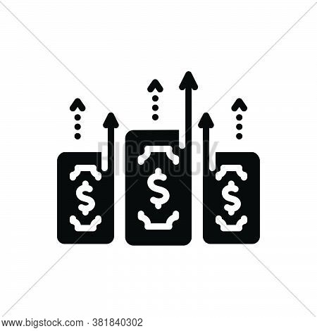 Black Solid Icon For Gain Expediency Capital Wealth Profit Benefit Increase Growth