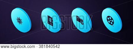 Set Isometric Film Reel, Download Arrow With Folder, Micro Sd Memory Card And Uv Protection Icon. Ve