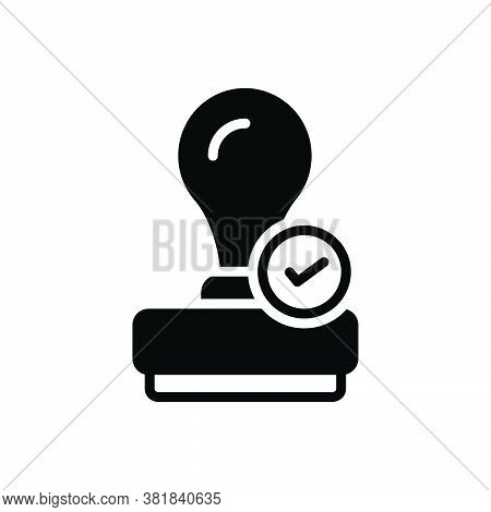 Black Solid Icon For Qualify Certify Enable Entitle Authorize Capacitate Stamper Appropriate Guarant