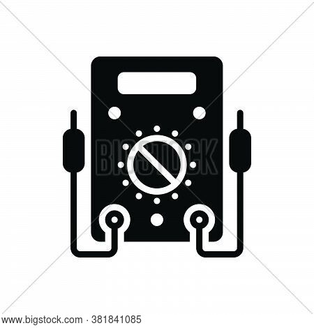Black Solid Icon For Voltmeter Ammeter Resistance Amperage Analog Appliance Control Current Electric