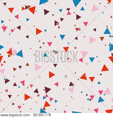 Abstract Memphis Seamless Pattern With Colorful Chaotic Small Triangles. Infinity Triangular Messy G