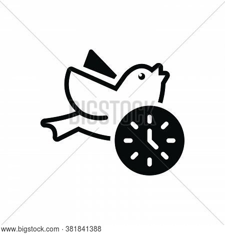Black Solid Icon For Early Morning Before-noon Dawn Daybreak Daylight Sunrise Daytime Bird Fly