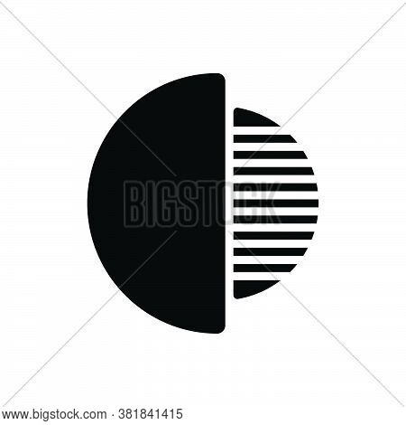 Black Solid Icon For Half Incomplete Fifty-fifty Graph Divided Fractional