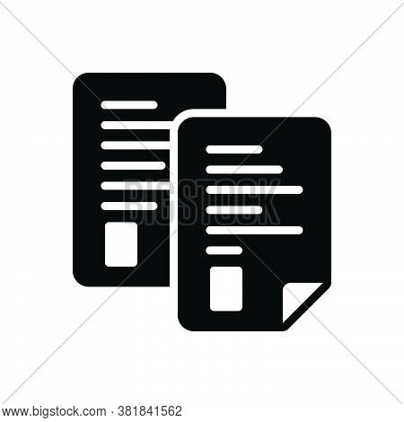 Black Solid Icon For Page Note Pitch Banknote Text Concept Document Message Paper
