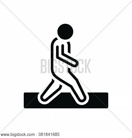Black Solid Icon For Walk Iteration Itinerancy Trek Pace Tempo Gait Ploy Footstep Walking Haste