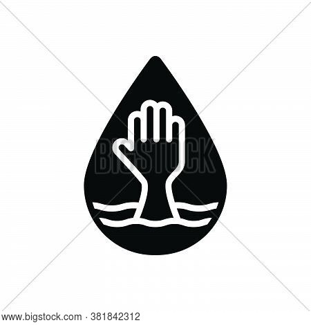 Black Solid Icon For Lack Reduction Scarcity Deficiency Shortage Help Paucity Dearth Submerge Water