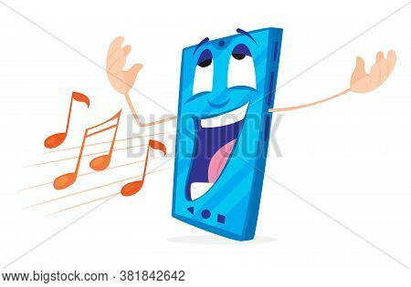 Positive Cartoon Smartphone With Face And Hands, Vector Illustration. Notes Fly Out Of The Phone Mou