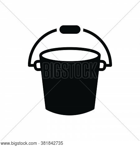 Black Solid Icon For Bucket Pail Plastic Appliance Bath Container