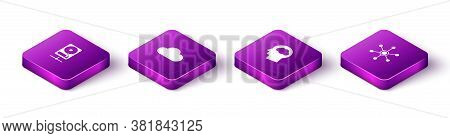 Set Isometric Hard Disk Drive On Sharing Network, Music Streaming Service, Head Silhouette With Clou