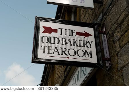 Stow-on-the-wold, Uk - July 10, 2020: Sign Outside The Old Bakery Tearoom In Stow-on-the-wold, A Mar
