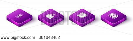 Set Isometric Cryptocurrency Bitcoin In Circuit, Wallet, Proof Of Stake And With Icon. Vector