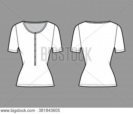 Cotton-jersey Top Technical Fashion Illustration With Short Sleeves, Slim Fit, Scoop Henley Neckline