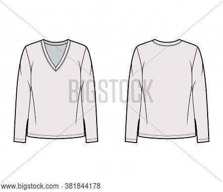 Cotton-jersey Shirt Technical Fashion Illustration With Relaxed Fit, Plunging V-neckline, Long Sleev
