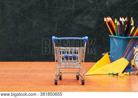 School Still Life, Shopping Cart On School Board Background, University, College