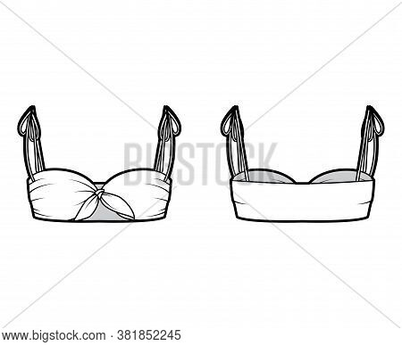 Bra Top Technical Fashion Illustration With Cropped Length, Ties At Shoulders And Front. Flat Swimwe