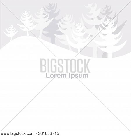 Fir Tree Forest Grey And White Background Lorem Ipsum Art Winter Design Element Stock Vector Illustr