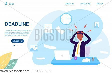 Businessman Under Pressure Facing A Work Deadline Seated At His Desk With Emanating Tension Lines On