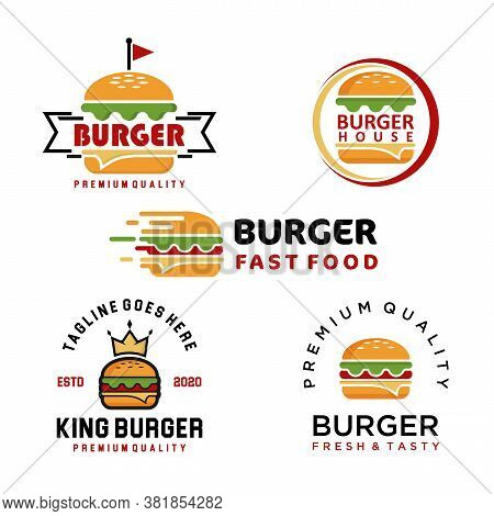 Set Of Burger Logo Vector. Restaurants Emblems. Hamburger Labels, Emblems, Logo. Restaurant With Bur
