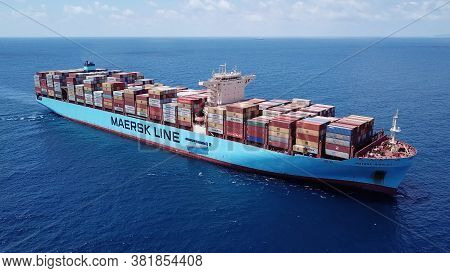 Haifa, Israel - June 25, 2020: Maersk Ulcv Fully Loaded With Freight Container.