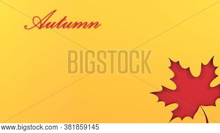 Autumn Yellow Background, Tree Paper Leaves, Design For Sale Banner, Poster, Thanksgiving Day, Greet