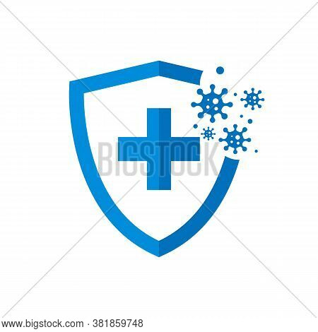 Bacterial And Virus Defense. Hygienic Shield That Protects From Germs, Viruses And Bacteria. Isolate