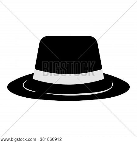 Gangster Hat Icon On White Background. Borsalino Or Fedora In Flat Style. Mafia And Detective Concep