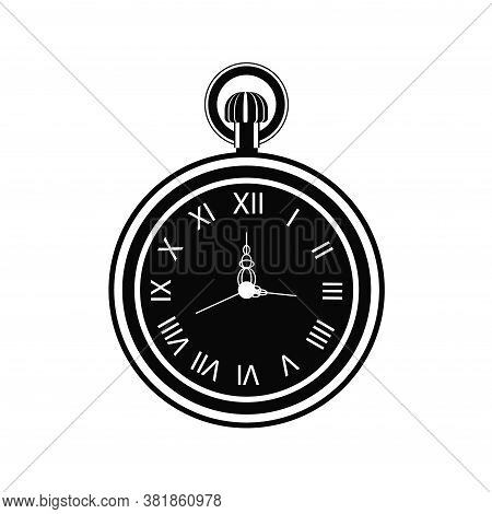 Vintage Pocket Watch Icon Isolated On White Background. Old Clock Face With Roman Numerals. Vector I