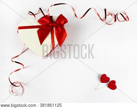 Valentine's Day Concept Valentine's Day. Red Rose With Petals On A White Background. Valentine Card,